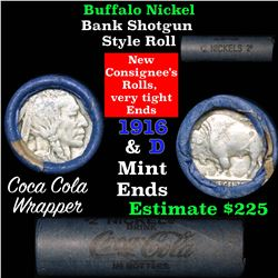 Full roll of Buffalo Nickels, 1916 on one end & a 'd' Mint reverse on other end (fc)