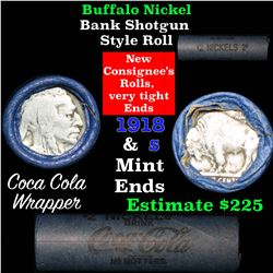 Full roll of Buffalo Nickels, 1918 on one end & a 's' Mint reverse on other end (fc)
