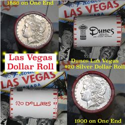 ***Auction Highlight*** $20 Las Vegas Mixed Morgan & Peace Bank style Roll Stamped Dunes (fc)