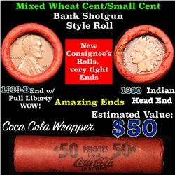 Mixed small cents 1c orig shotgun roll, 1919-d one end, 1890 Indian cent other end