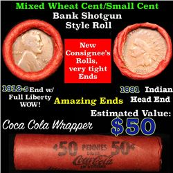 Mixed small cents 1c orig shotgun roll, 1912-s one end, 1881 Indian cent other end