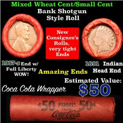 Mixed small cents 1c orig shotgun roll, 1917-s one end, 1891 Indian cent other end