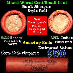 Mixed small cents 1c orig shotgun roll, 1919-s one end, 1891 Indian cent other end