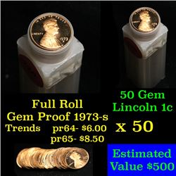 Proof 1973-s Lincoln cent 1c roll, 50 pieces (fc)