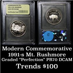 1991-s Mt. Rushmore Proof  Modern Commem Half Dollar 50c Graded GEM++ Proof DCAM by USCG