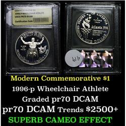 1996-p Paralympics (Wheel Chair Athlete) Modern Commem Dollar $1 Graded GEM++ Proof Deep Cameo by US