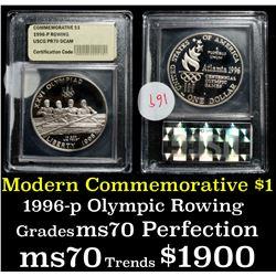 1996-p Olympic Rowing Proof Modern Commem Dollar $1 Graded GEM++ Proof Deep Cameo by USCG