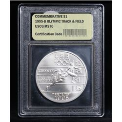 1995-d Olympic Track & Field Unc  Modern Commem Dollar $1 Graded ms70, Perfection by USCG