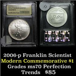 2006-p Franklin Scientist Unc Modern Commem Dollar $1 Graded ms70, Perfection by USCG
