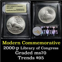 2000-p Library of Congress Unc Modern Commem Dollar $1 Graded ms70, Perfection by USCG