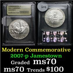 2007-p Jamestown Uncirculated  Modern Commem Dollar $1 Graded ms70, Perfection by USCG