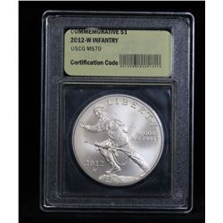 2012-w Infantry Uncirculated Modern Commem Dollar $1 Graded ms70, Perfection by USCG