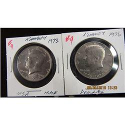 1973 & 1976 USA KENNEDY HALF DOLLARS
