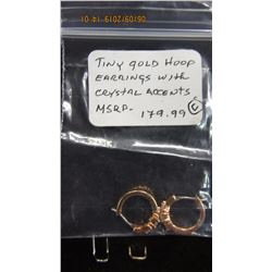 TINY GOLD HOOP EARRINGS WITH CRYSTAL ACCENTS