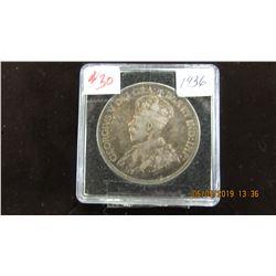 1936 CANADA KING GEORGE V SILVER DOLLAR