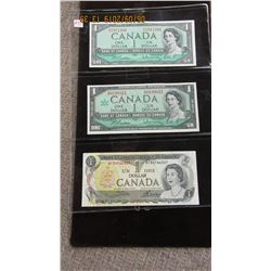 STOCK SHEET 1954 - 1967 CENTENNIAL & 1973 CANADA $1 BILLS