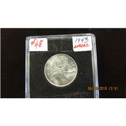 1943 KING GEORGE VI UNCIRCULATED SILVER QUARTER