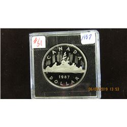 1987 CANADA PROOF CAMEO VOYAGER DOLLAR