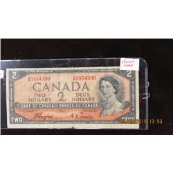 1954 CANADA DEVILS FACE LEGAL TENDER $2 BILL