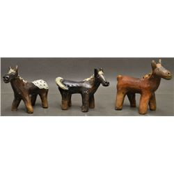 NAVAJO INDIAN FOLK-ART POTTERY HORSES (JONATHAN CHEE)