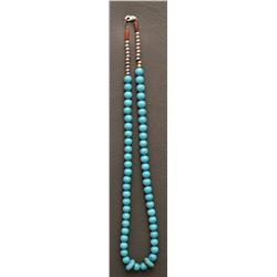 SINGLE STRAND TURQUOISE BEAD NECKLACE