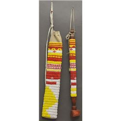 PLAINS INDIAN BEADED PIPE AND PIPE BAG