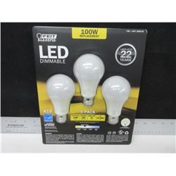 New 3 pack of LED Dimmable Lightbulbs - 1600 lumens- 100 watt replacement