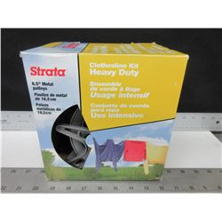 "New Strata heavy duty  Clothesline Kit / 6.5"" metal pulley's / 150ft of pvc"