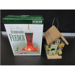New Hummingbird Feeder and Birdhouse