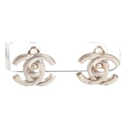 Chanel Silver CC Turn Lock Vintage Clip On Earrings