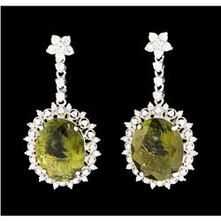 7.82 ctw Tourmaline and Diamond Earrings - 14KT White Gold