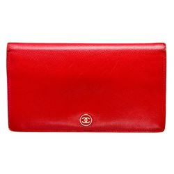 Chanel Red Leather CC Long Wallet