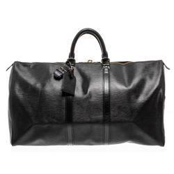 Louis Vuitton Black Epi Leather Keepall 55 cm Duffle Bag Luggage