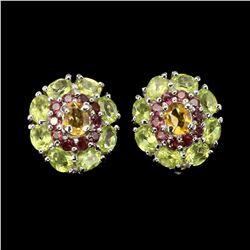 Natural Citrine Peridot Rhodolite Earrings