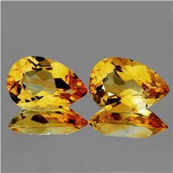 Natural GOLDEN YELLOW CITRINE Pair 12x8 MM