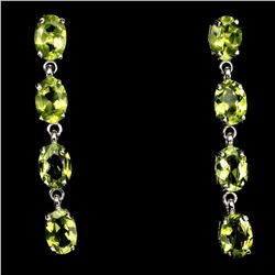 Natural Oval 7x5mm Top Rich Green Peridot Earrings