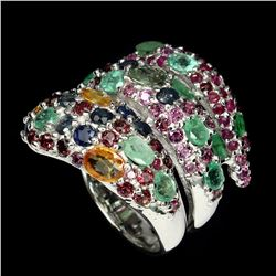 Natural Sapphire Emerald Rhodolite Garnet Ruby Ring