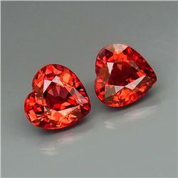 Natural Cherry Red Rhodolite Garnet Heart Pair 3.11 Ct.