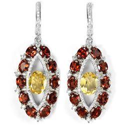 Natural Citrine & Garnet Earrings