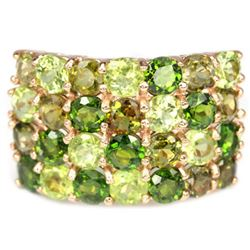 NATURAL CHROME DIOPSIDE TOURMALINE & PERIDOT Ring