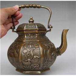 Chinese brass Fish Mandarin Duck Wine Pot Flagon Kettle