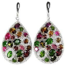 Natural TOURMALINE CHROME DIOPSIDE RHODOLITE Earrings