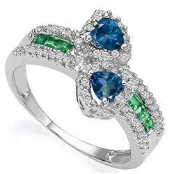 Natural Heart London Blue Topaz & Emerald Ring