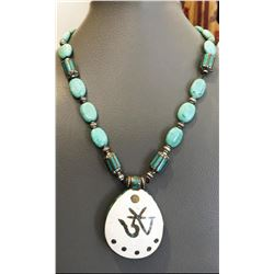 Tibet Hand Made Natural Turquoise AUM Necklace