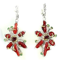 Natural Handmade Red Coral Ruby & Emerald Earrings