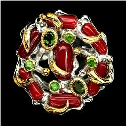 Handmade Natural Red Coral Chrome Diopside 2 Tone Ring