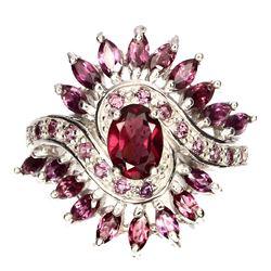 Natural Top Pink Raspberry Rhodolite Garnet Ring