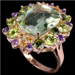 Natural AMETHYST CITRINE PERIDOT CHROME DIOPSIDE Ring