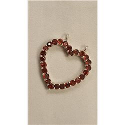 SPARKLING 8.35 CT RED GARNET  HEART PENDANT.