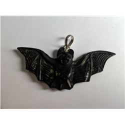 Hand Carved Horn Bat Pendant